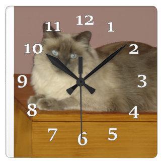 Birman Cat Square Wall Clock