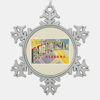 Birmingham Alabama AL Old Vintage Travel Souvenir Snowflake Pewter Christmas Ornament