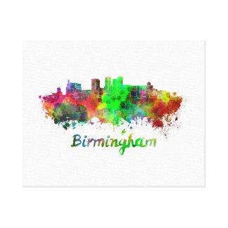 Birmingham skyline in watercolor canvas print