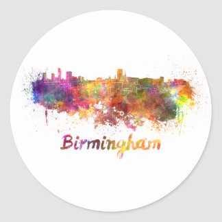 Birmingham skyline in watercolor classic round sticker