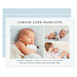 Birth Announcement Card | Classic Photo Collage
