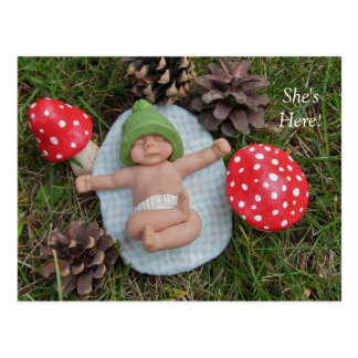 Birth Announcement: Clay Baby, Mushrooms, Grass Postcard