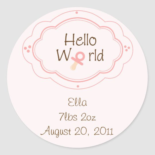 Birth announcement Cupcake Toppers/Stickers Classic Round Sticker