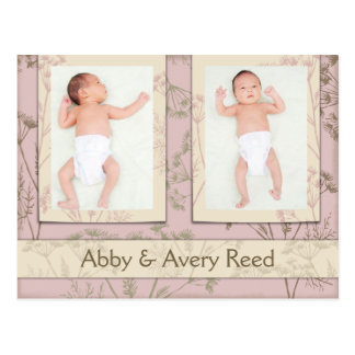 Birth Announcement for Twins - Fennel Pink Postcard