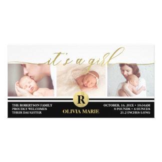 Birth Announcement, Girl, Faux Gold Foil Card