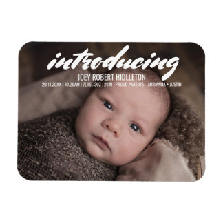 Birth Announcement Modern Typography Magnet