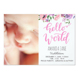 Birth Announcement Photo Hello World Pink