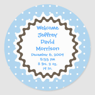 Birth Announcement Sticker - Blue, Brown and White