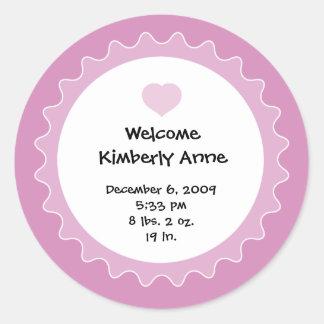 Birth Announcement Sticker for Baby Shower favor