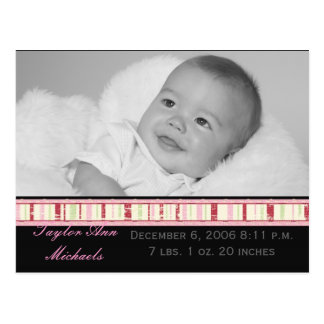 Birth Announcement Stripe Postcard
