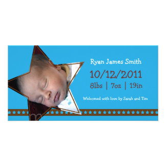 Birth Announcement with a Blue and Star Theme Photo Cards