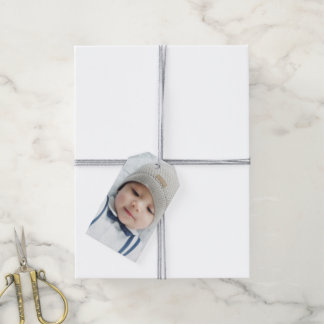 Birth Announcement with Custom Newborn Baby Photo Gift Tags