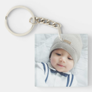 Birth Announcement with Custom Newborn Baby Photo Keychain