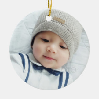 Birth Announcement with Custom Newborn Baby Photo Round Ceramic Ornament