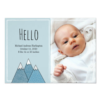 Birth announcements Hello boy New baby Blue card