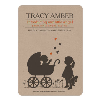 BIRTH ANNOUNCEMENTS pram baby with little sister