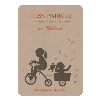 BIRTH ANNOUNCEMENTS TRICYCLE WITH LITTLE SISTER