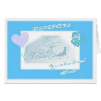 Birth baby boy card