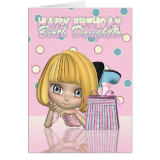 Birth Daughter Birthday Card With Cute Little Girl