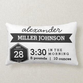 Birth Details Black White Pillow - Monochrome Baby