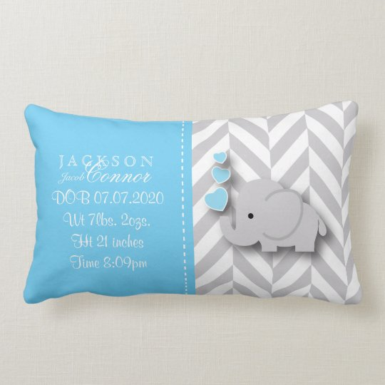 Birth Information - Baby Boy Elephant Lumbar Pillow