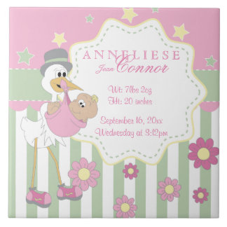 Birth Information - Pink Baby Girl Stork Tile