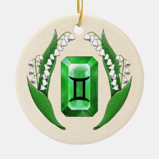 Birth Month May Gemini Round Ceramic Ornament