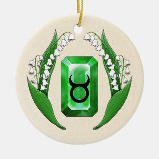 Birth Month May Taurus Round Ceramic Ornament