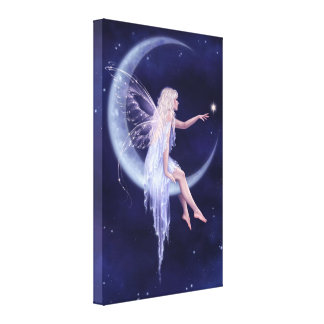 Birth of a Star Moon Fairy Wrapped Canvas Print