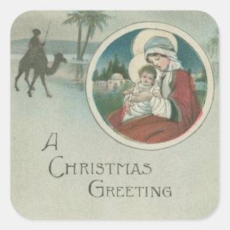 Birth of Jesus Christmas Greetings Square Sticker