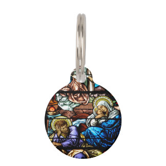 Birth of Jesus Stained Glass Window Pet ID Tag