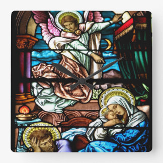 Birth of Jesus Stained Glass Window Square Wall Clock