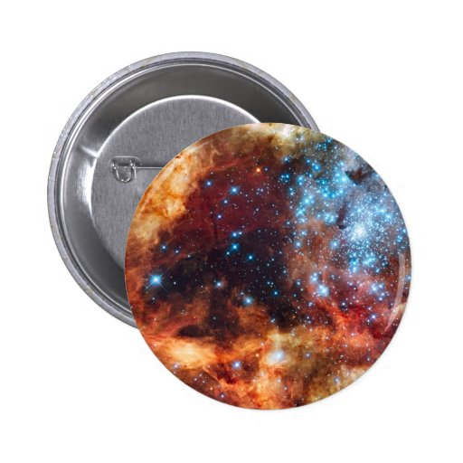 Birth of Stars Blue Star Cluster Red Cosmic Clouds Pinback Button