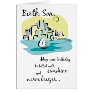 Birth Son Sailboat City Birthday Card