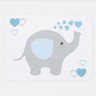 Birth Stats Baby Boy Elephant Nursery Blue Grey Baby Blanket