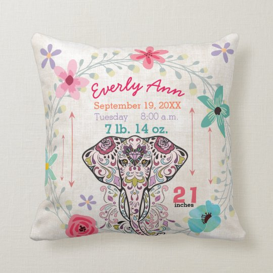 Birth Stats Baby Girl Jungle Creature Elephant Throw Pillow