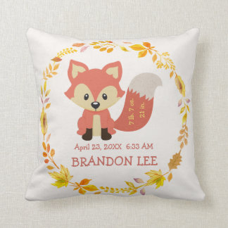 Birth Stats Baby | Woodland Forest Nursery Fox Throw Pillow