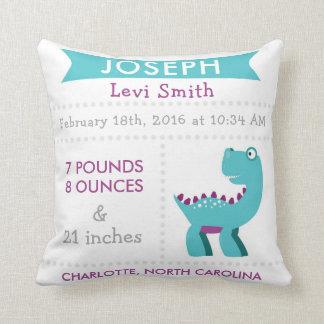 Birth Stats Dinosaur Nursery Pillow - Teal