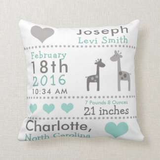 Birth Stats Giraffe Nursery Throw Pillow