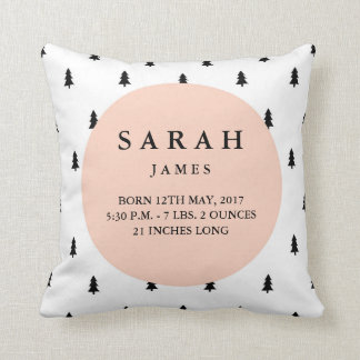 Birth Stats Modern Woodland Nursery Pillow
