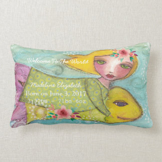 Birth Stats Pillow Baby Girl  Moon Love