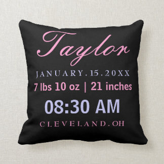 Birth Stats Typography Black Pink Lavender Throw Pillow
