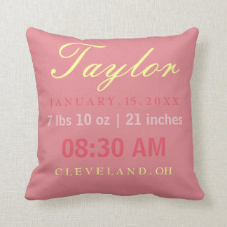 Birth Stats Typography Pink & Yellow Throw Pillow