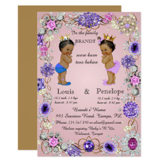 birth twin babies announcement, pink, colorful card