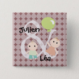 Birth twins girl boy balloon 03 swipes in 2 inch square button