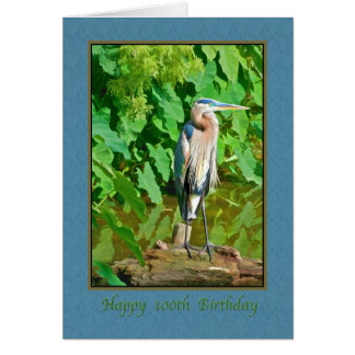 Birthday, 100th, Great Blue Heron Card
