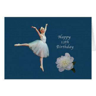 Birthday, 13th, Ballerina and White Peony Card