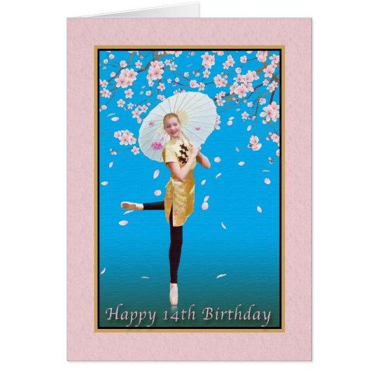 Birthday, 14th,  Ballerina, Cherry Blossoms Card