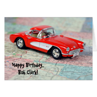 birthday - 1957 Corvette on map Card