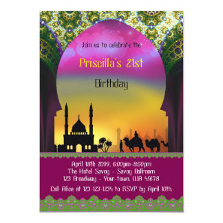 "Birthday 21st invitation, 21st,Arabian,Moroccan 5"" X 7"" Invitation Card"